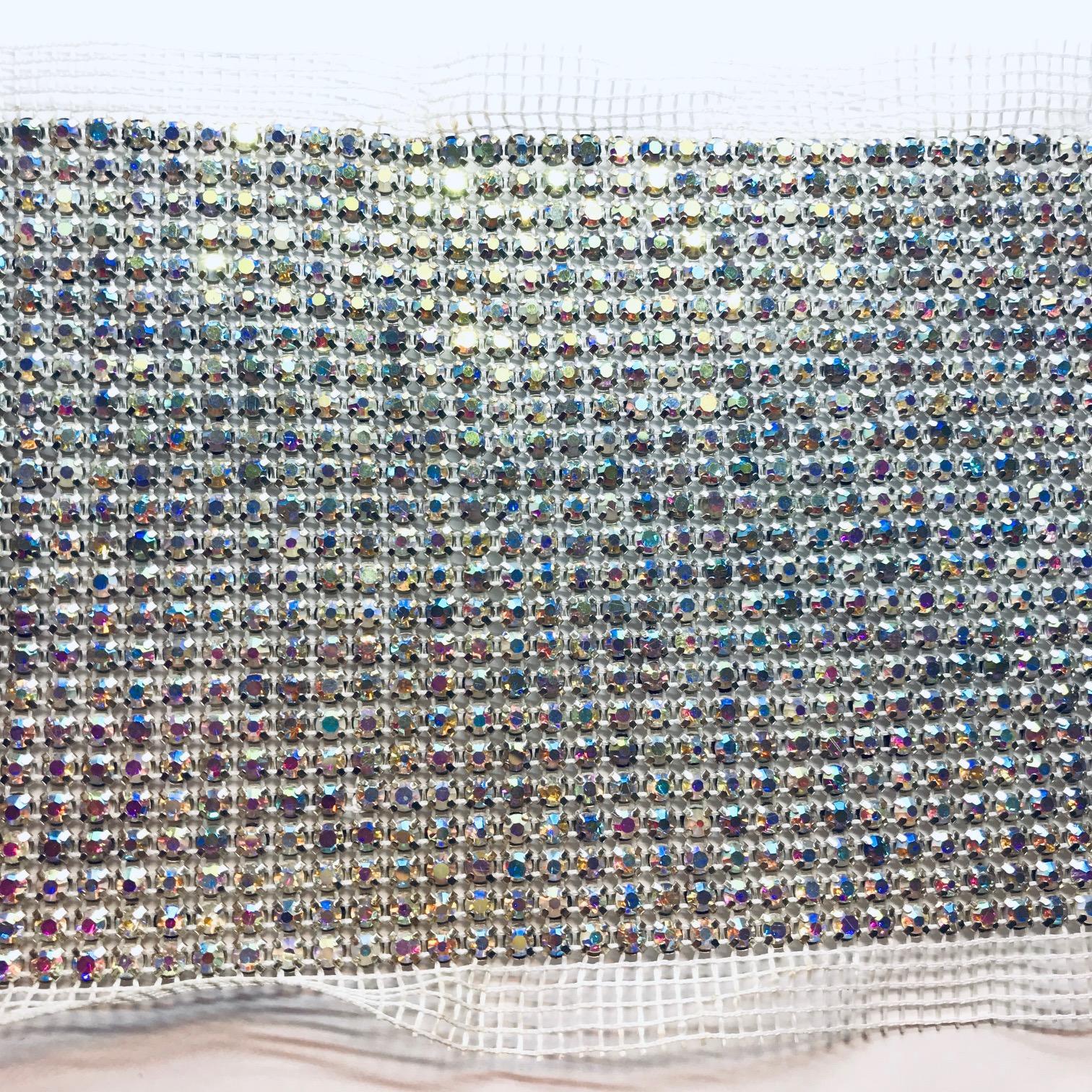 Bande de strass a coudre 3mm base metal avec elements strass cristal ab 24 rangs 1