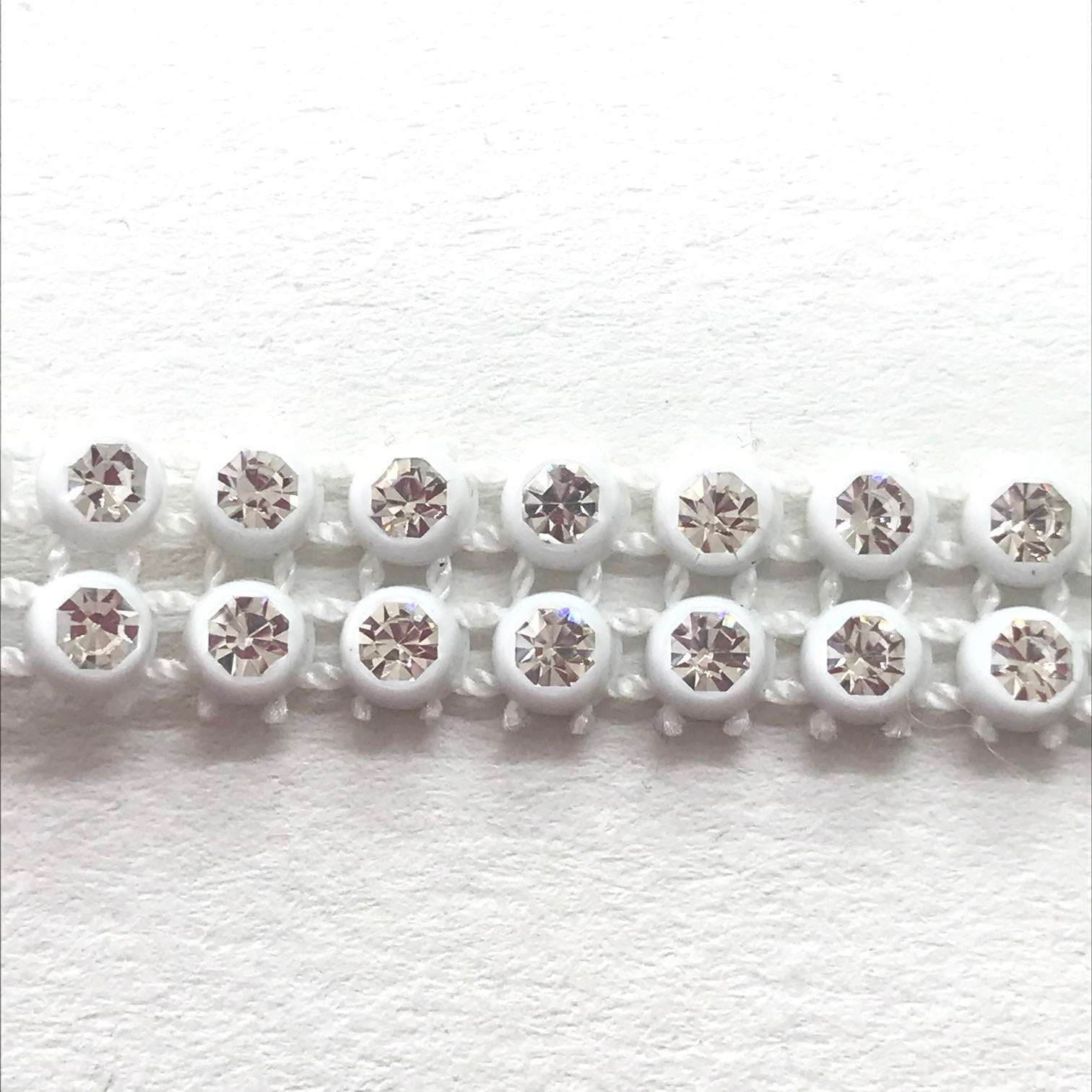 Bande de strass a coudre 3mm blanc strass cristal 2 rangs