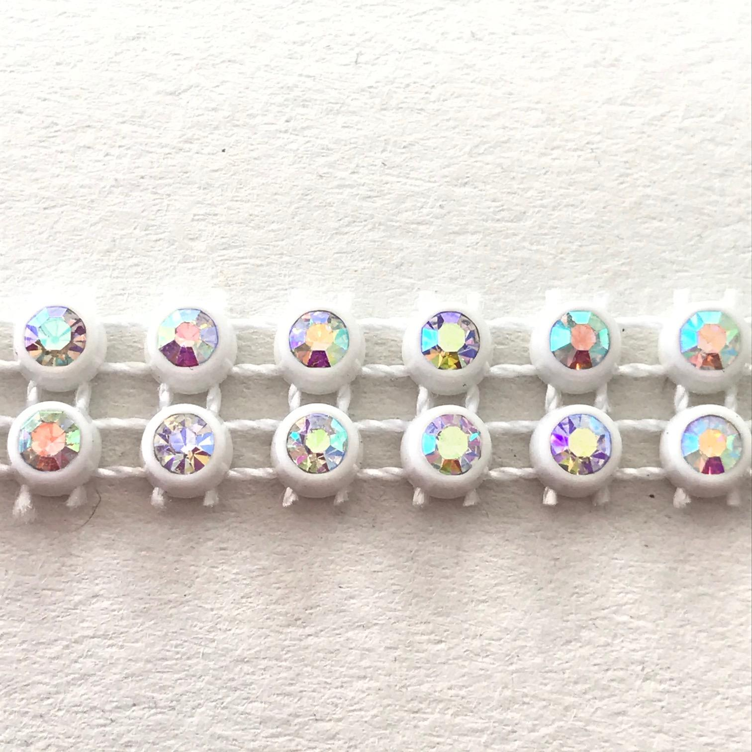 Bande de strass a coudre 3mm blanc strass cristal ab 2 rangs