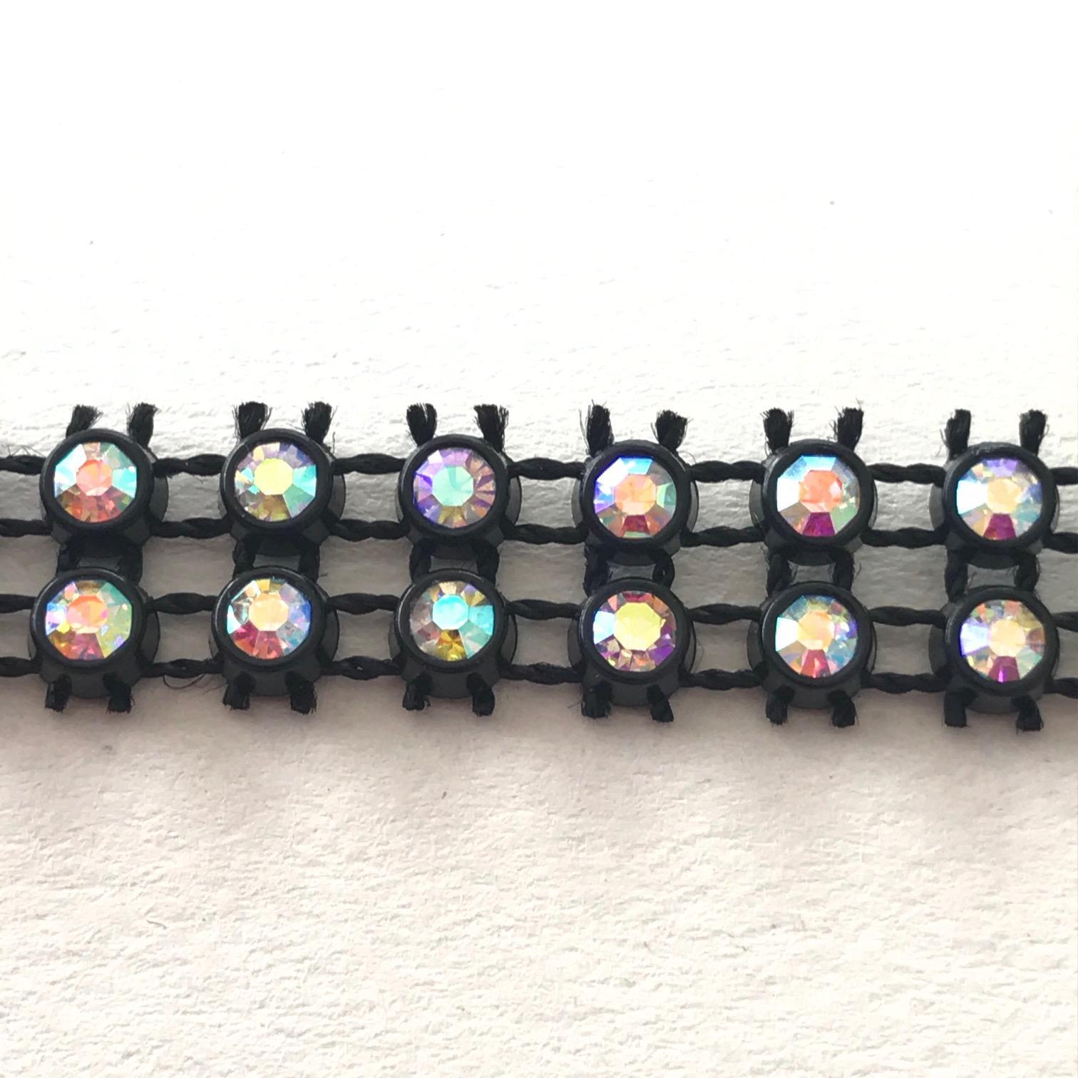 Bande de strass a coudre 3mm noir strass cristal ab 2 rangs