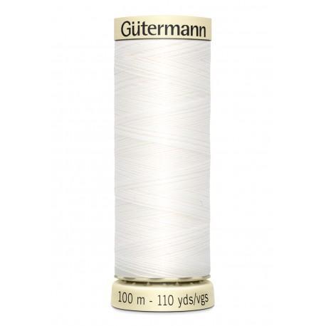 Bobine n800 blanc de fil pour tout coudre polyester gutermann 100 m