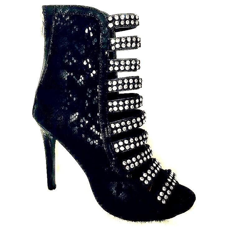 Botine en strass chaussures femme noir bottes a paillettes dorees spectacles scene ch m12n