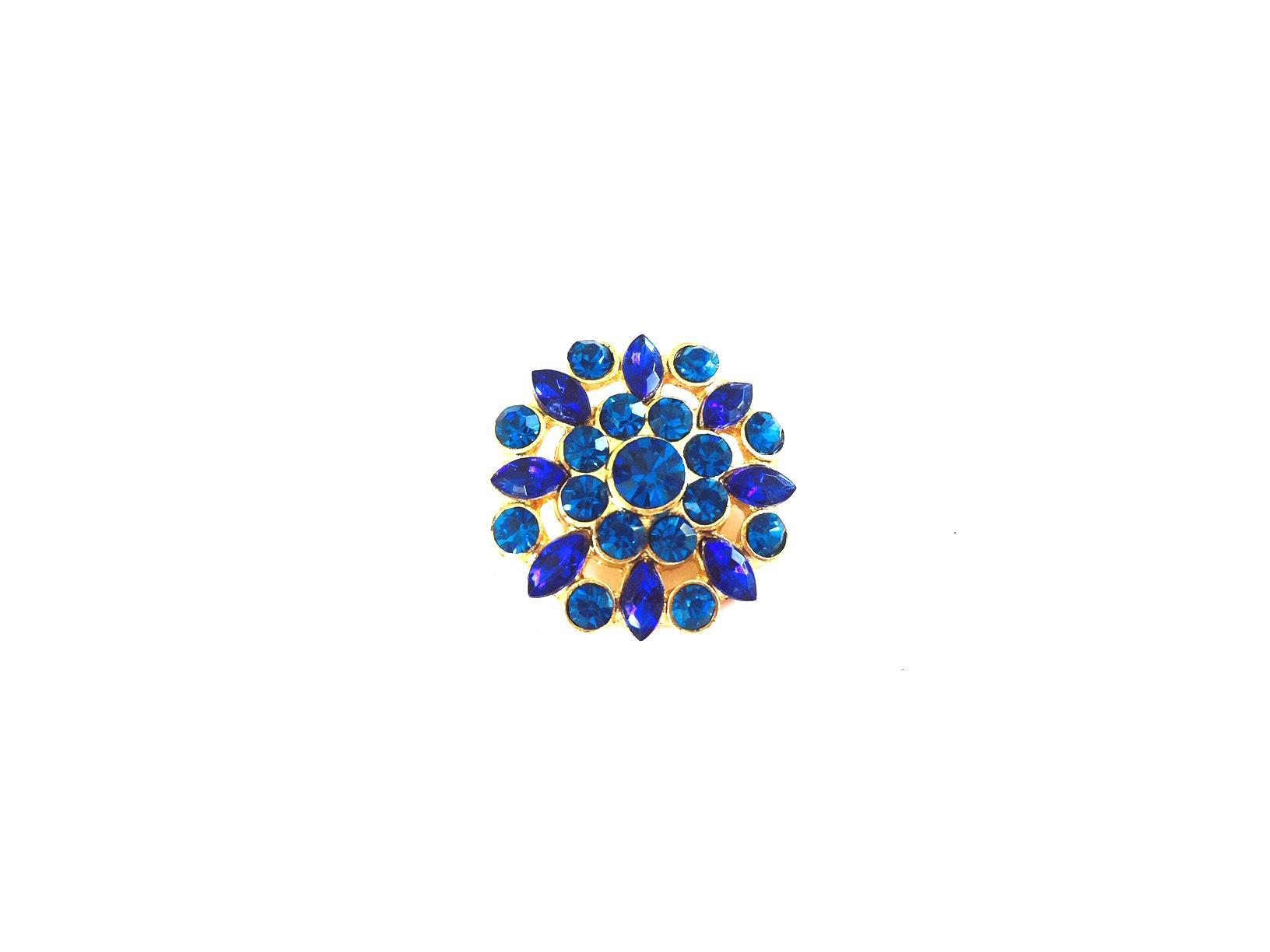 Bouton en strass cristal bleu saphir