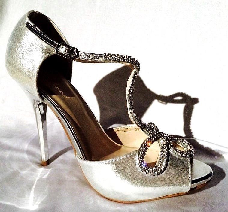 Chaussures en strass argent pour femme scenes spectacles ch yl221