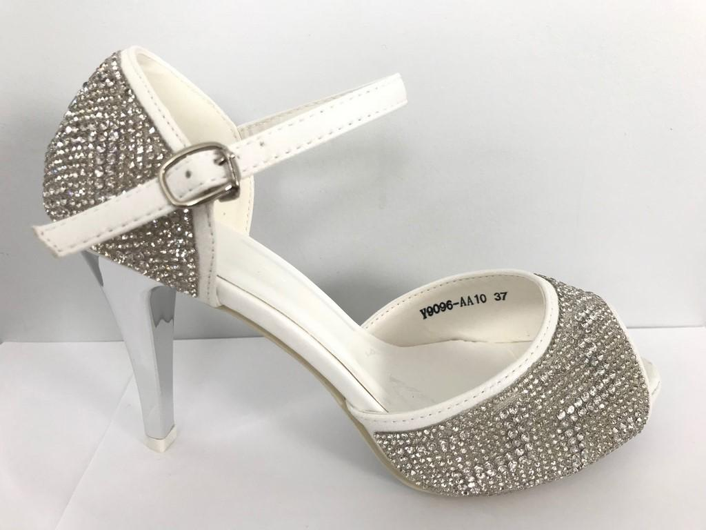 Chaussures en strass blanche femmes scenes spectacles ch y9096b