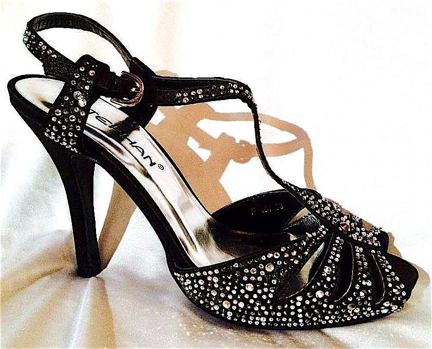 Chaussures femme en strass noir scene spectacle ch p484n