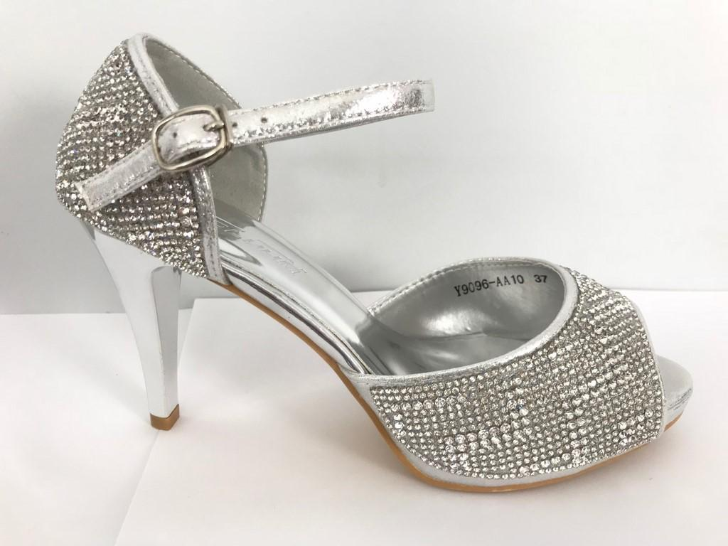Chaussures femmes argent en strass scenes spectacles ch y9096a