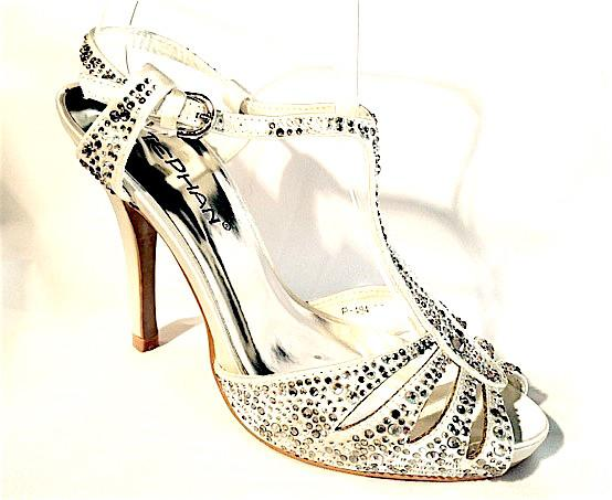 Chaussures femmes blanche avec strass scenes spectacles ch p484b