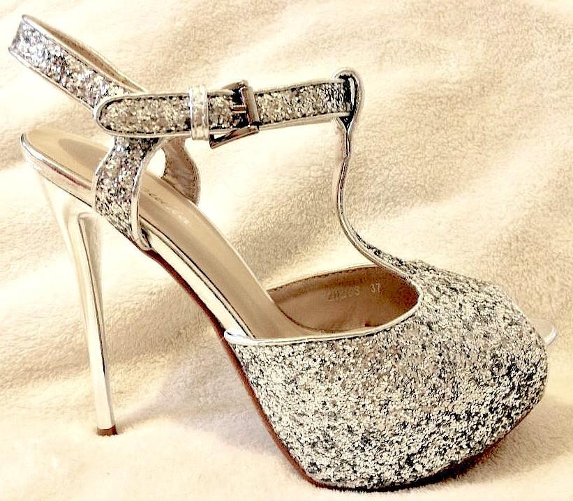 Chaussures femmes en paillettes argent scenes spectacles ch 20203