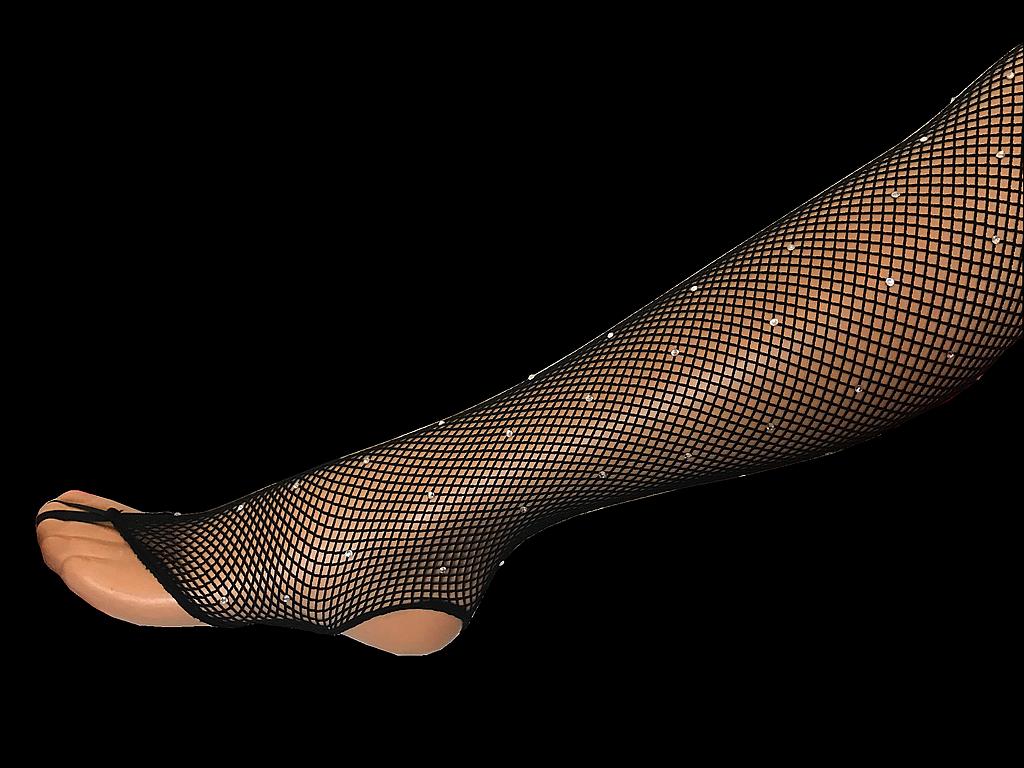 Collant resille noir sans pieds strasse 2