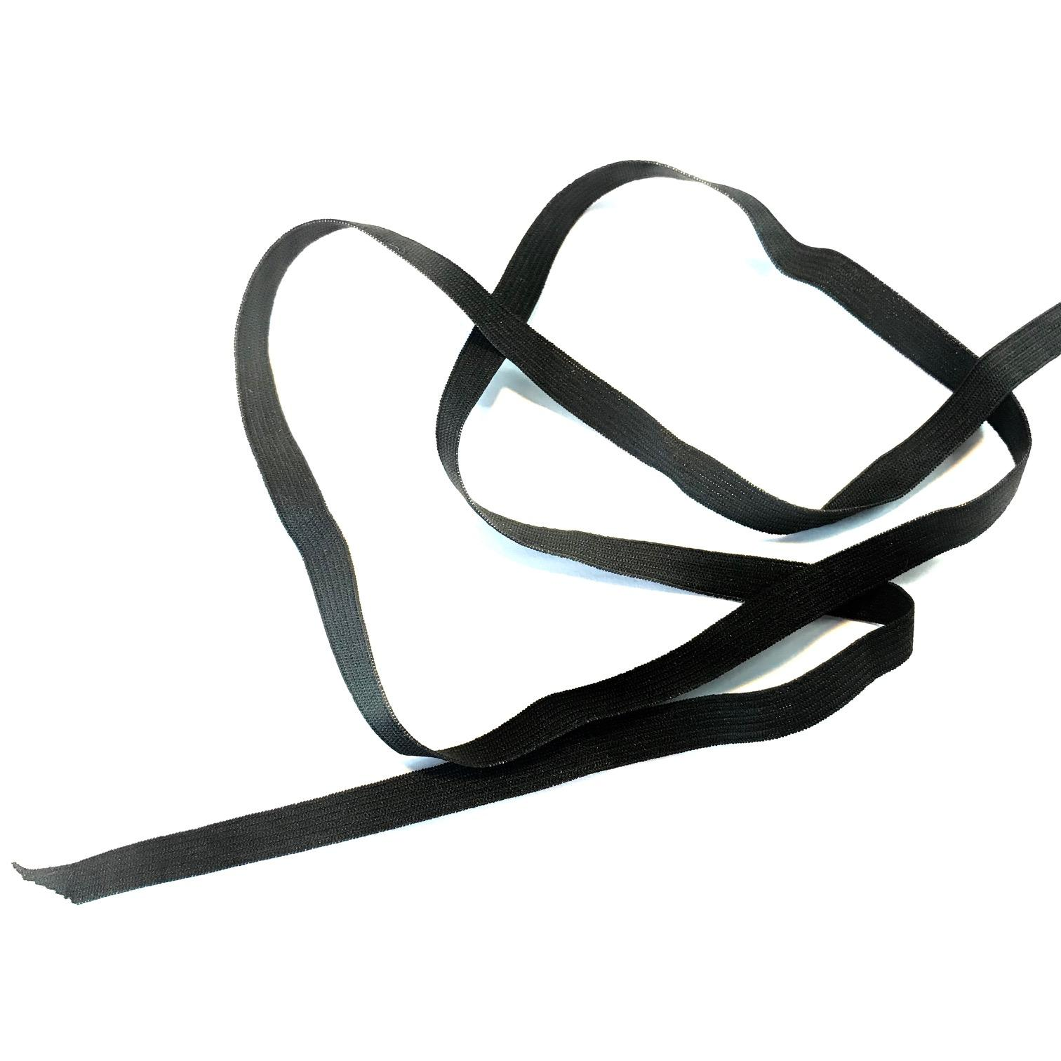 Elastique plat noir 7mm ideal masque