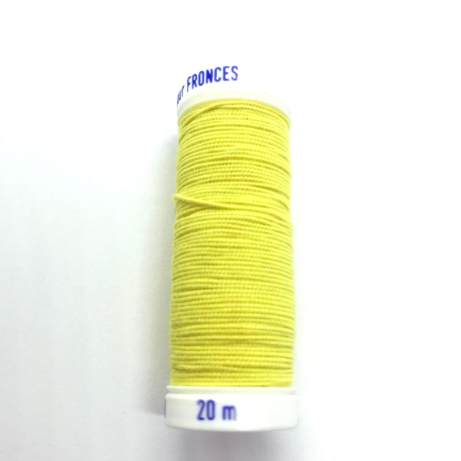 Fil elastique pour fronces 1cm de diametre 20m jaune