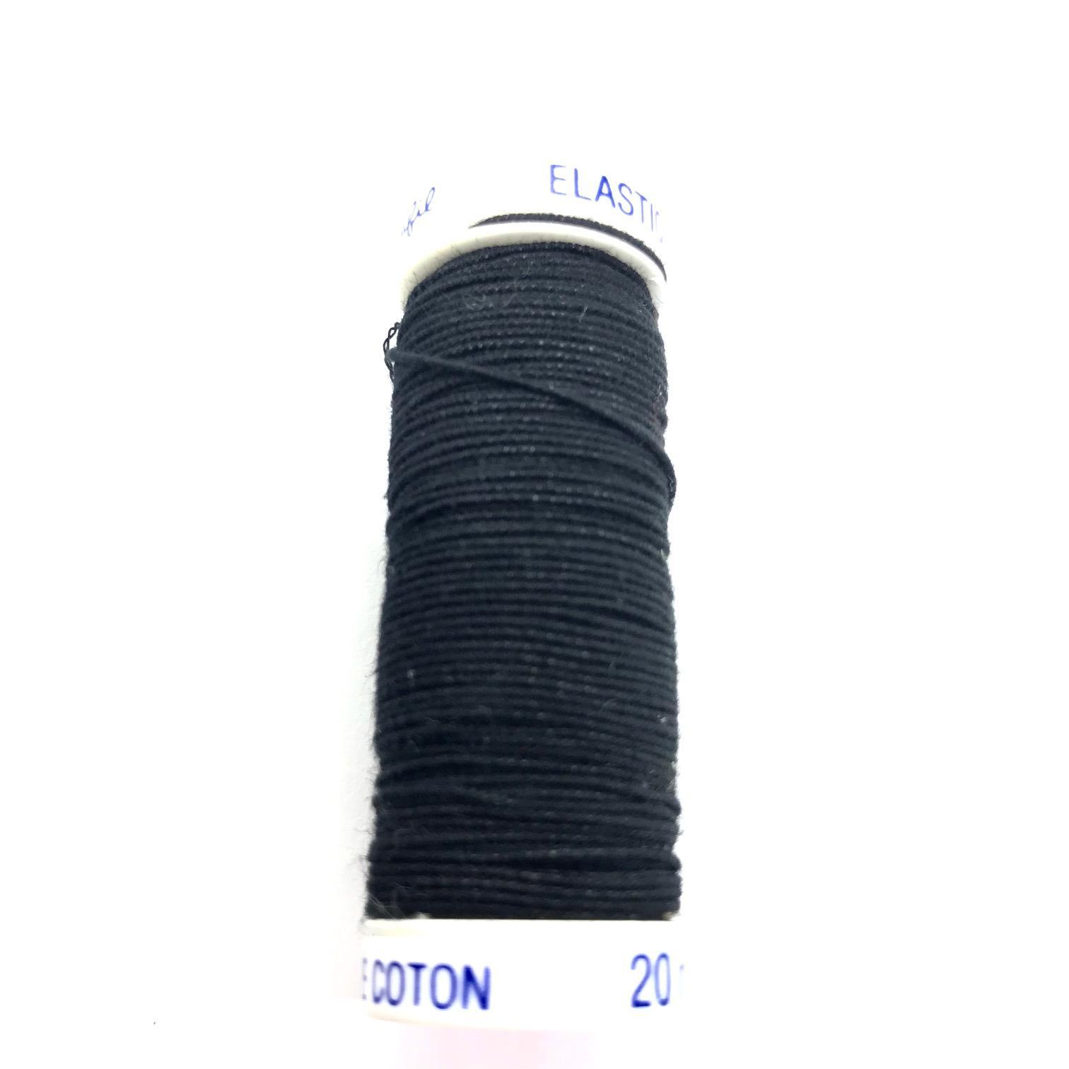 Fil elastique pour fronces 1cm de diametre 20m noir