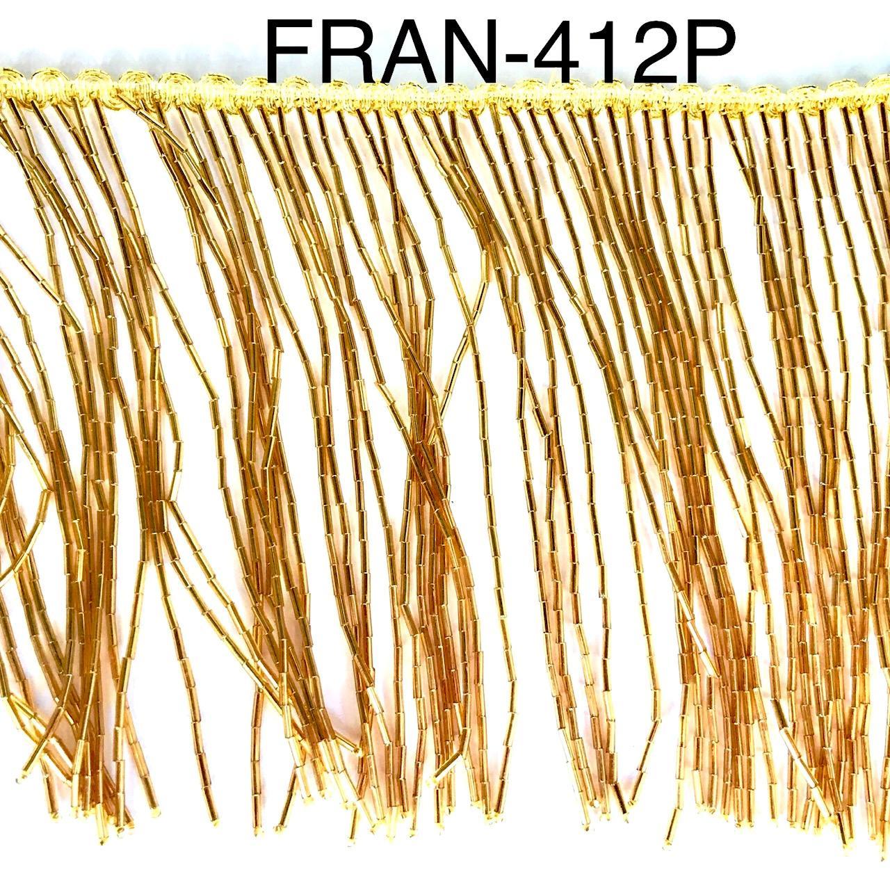 Franges a coudre en perles or dore 15cm 412p