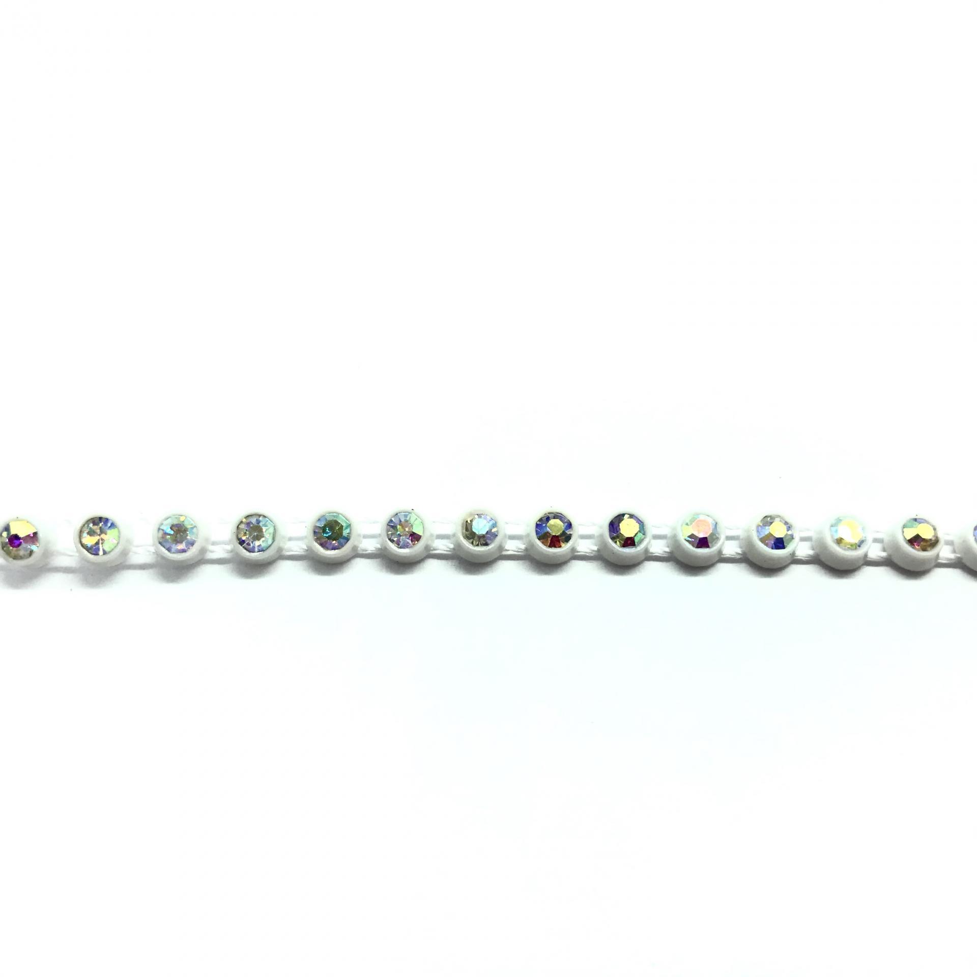 Galon de strass a coudre cristal ab base plastique blanche 3mm