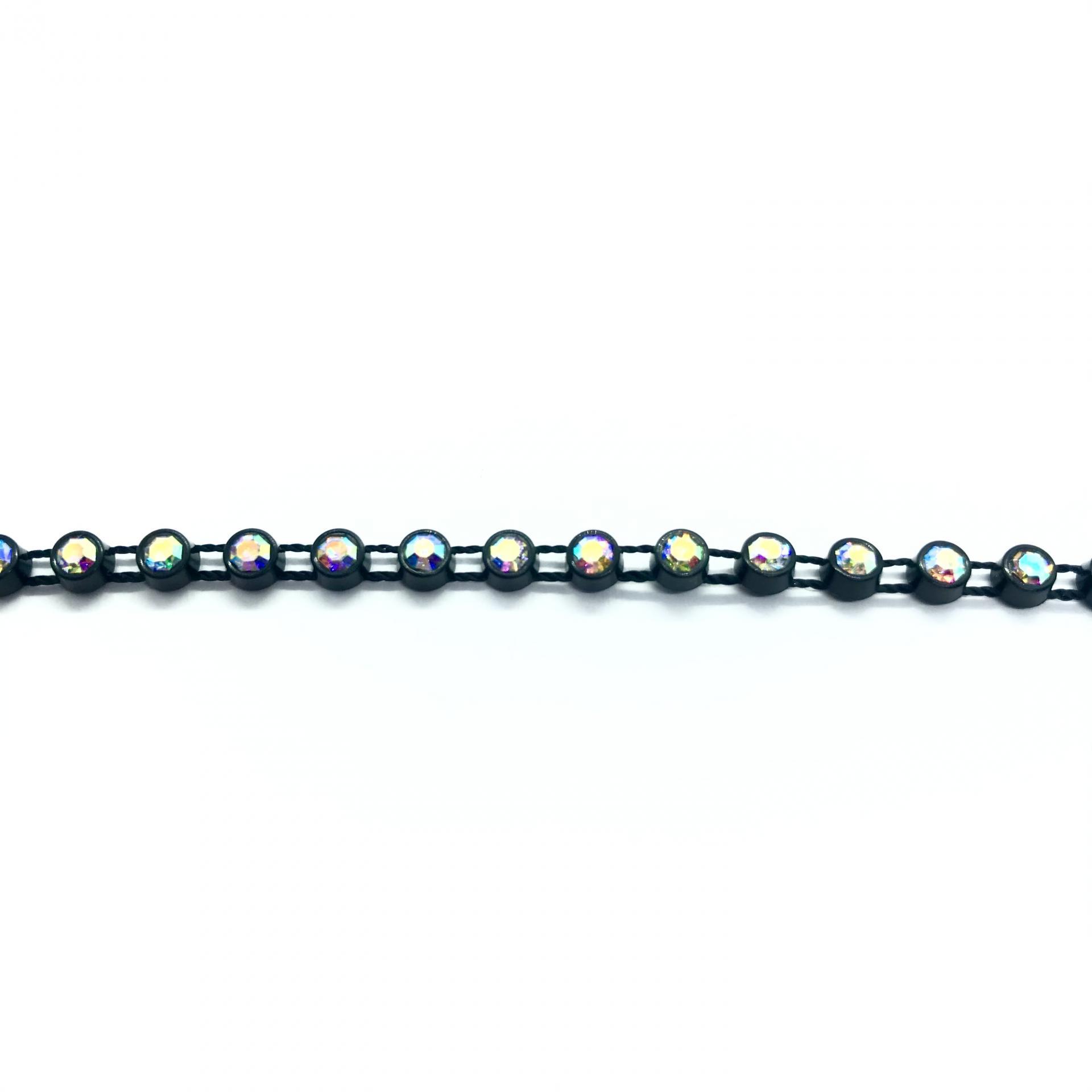 Galon de strass a coudre cristal ab base plastique noir 3mm