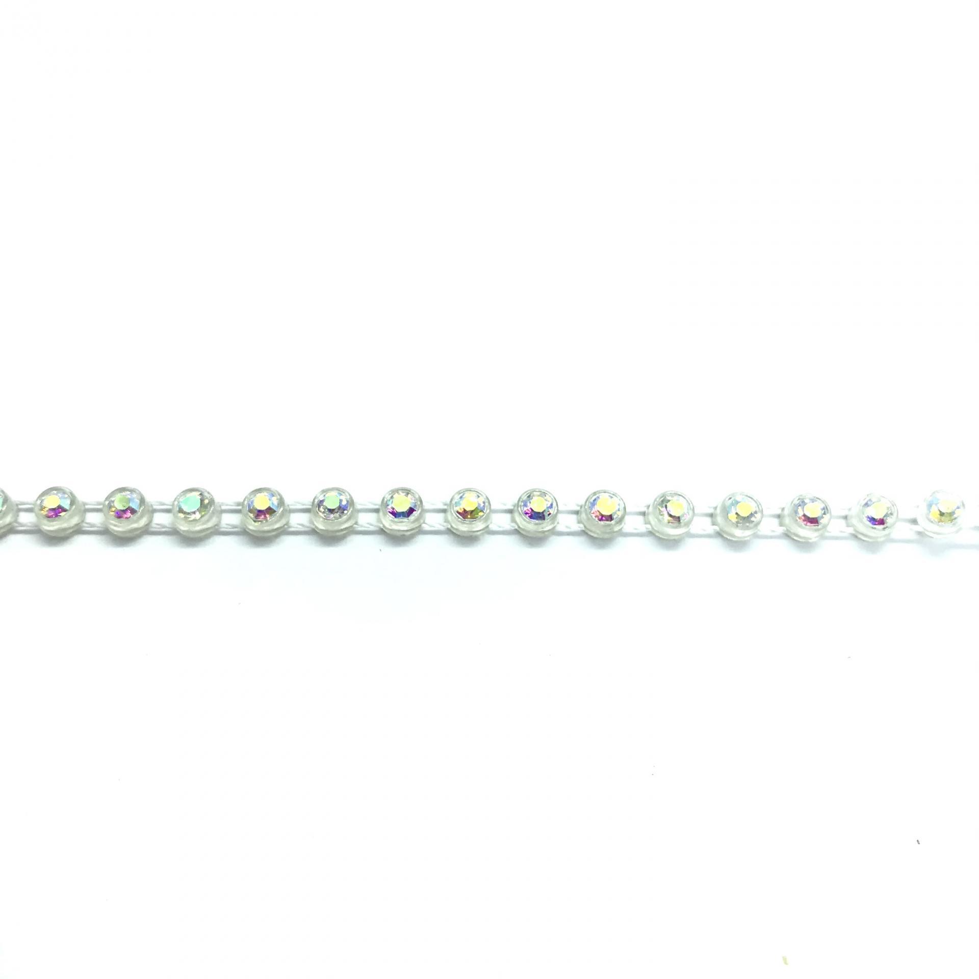 Galon de strass a coudre cristal ab base plastique translucide 3mm