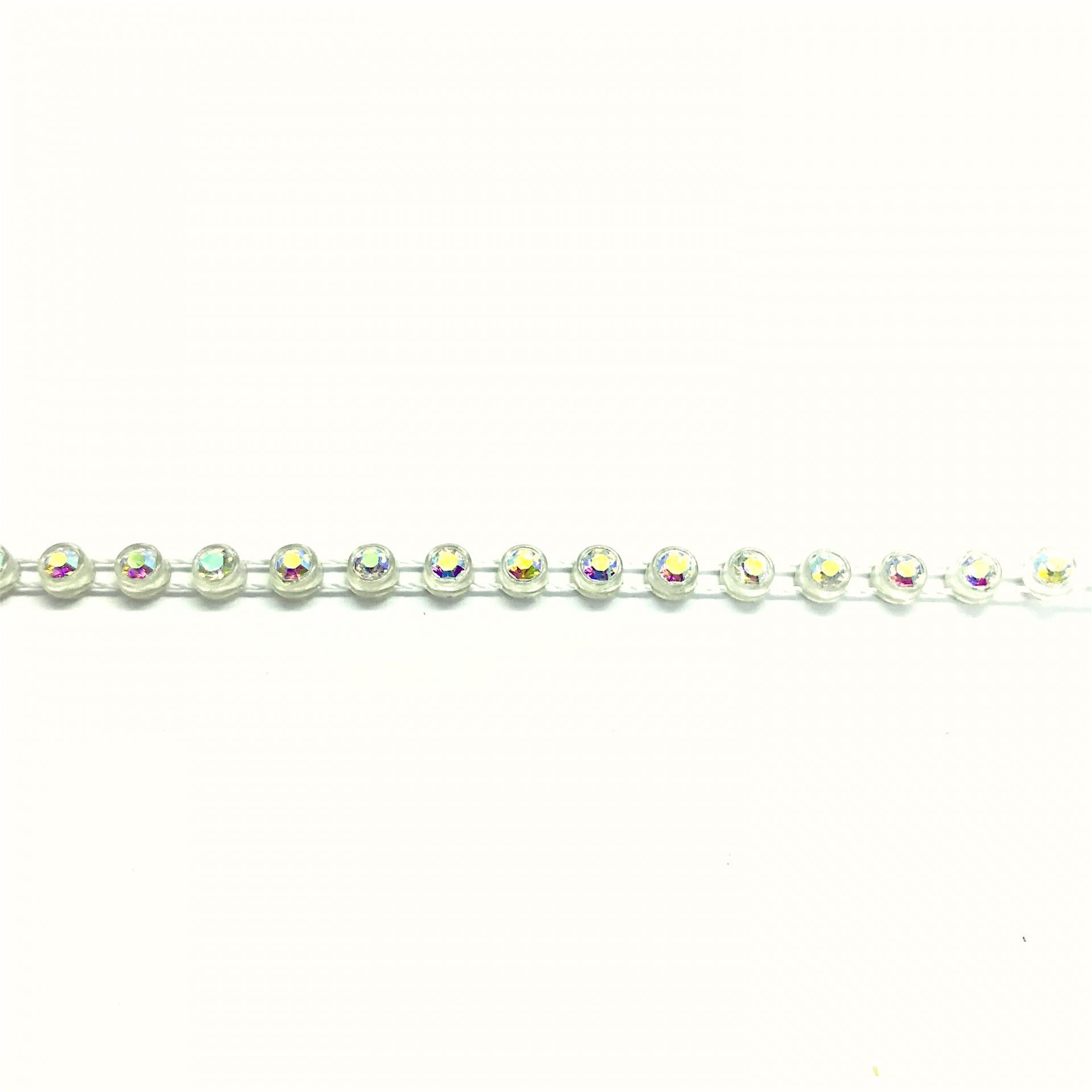Galon de strass a coudre cristal ab base plastique translucide 5mm