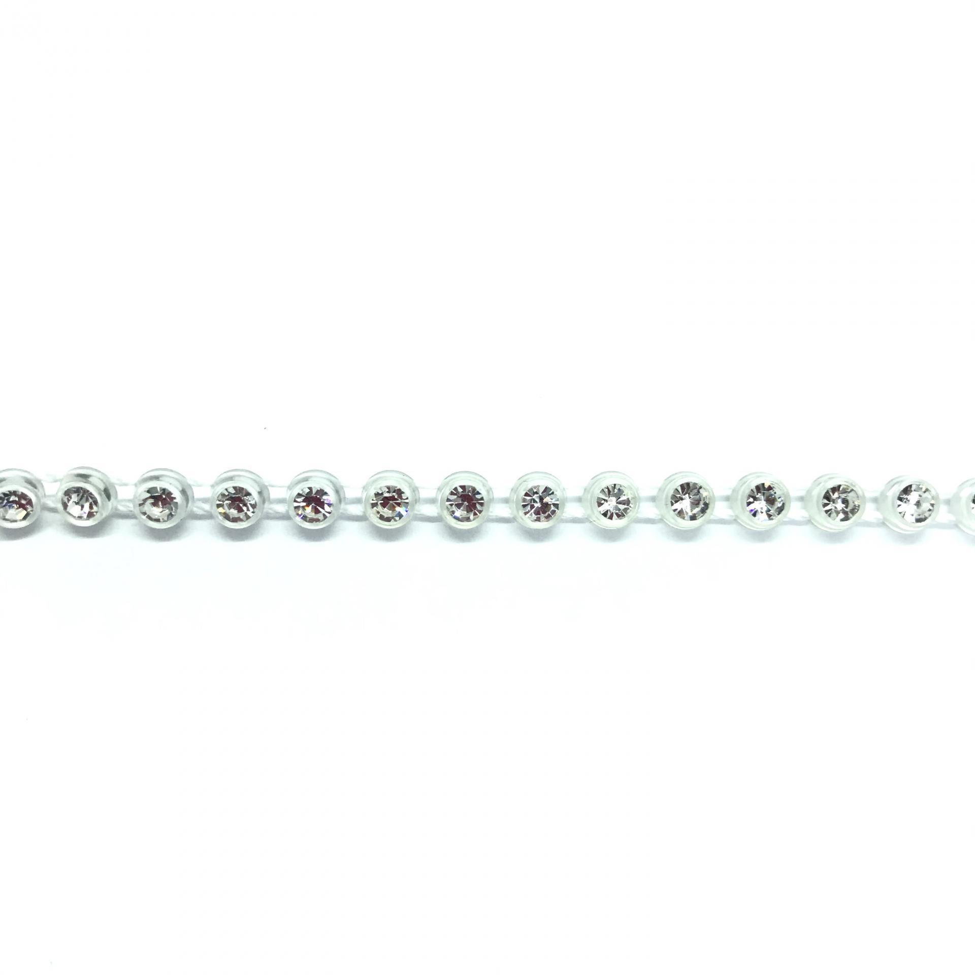 Galon de strass a coudre cristal base plastique translucide 3mm