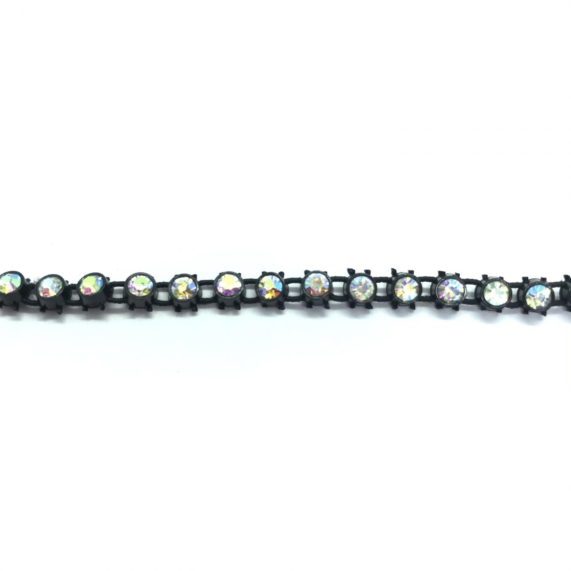 Galon de strass elastique a coudre cristal ab base plastique noir 3mm