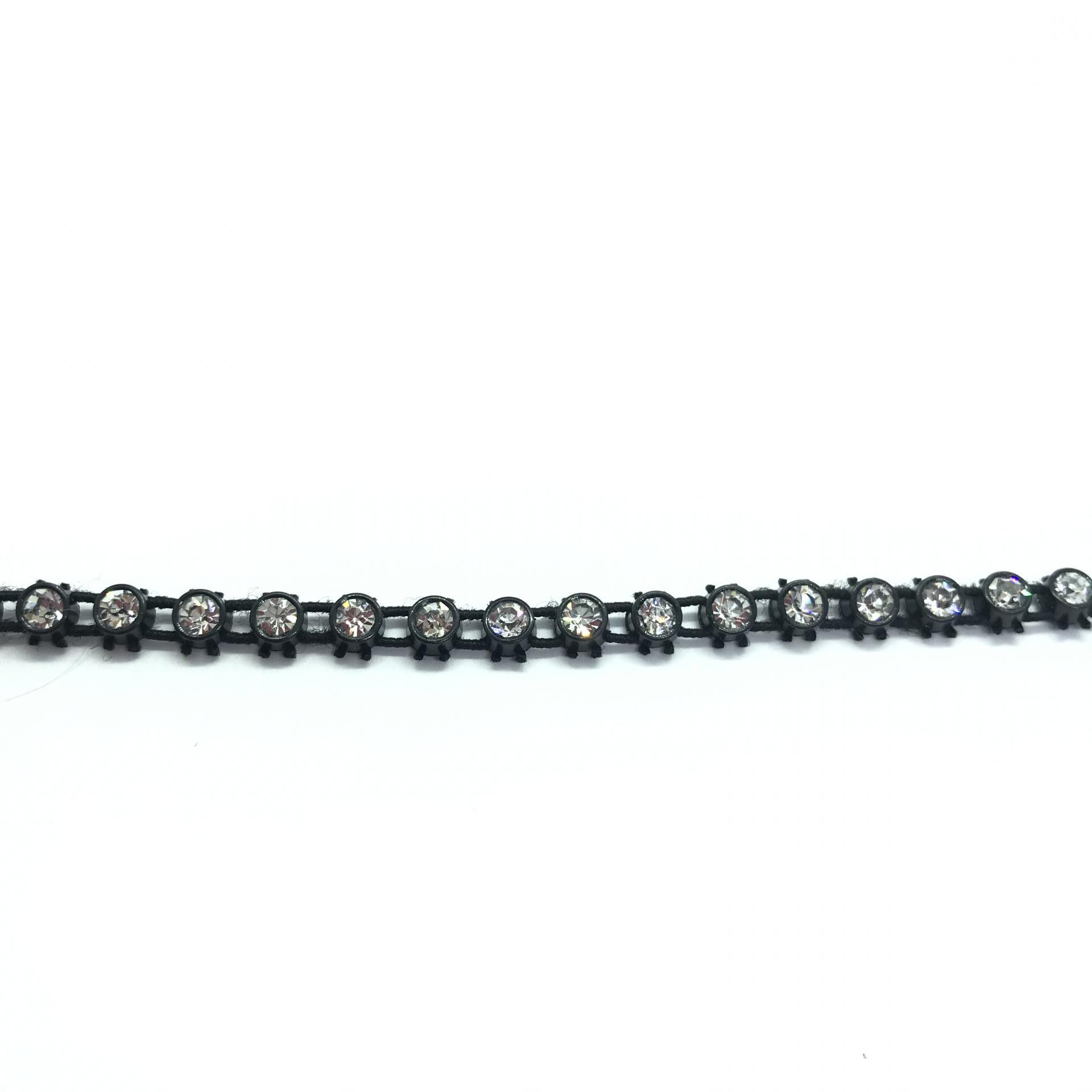 Galon de strass elastique a coudre cristal base plastique noir 3mm