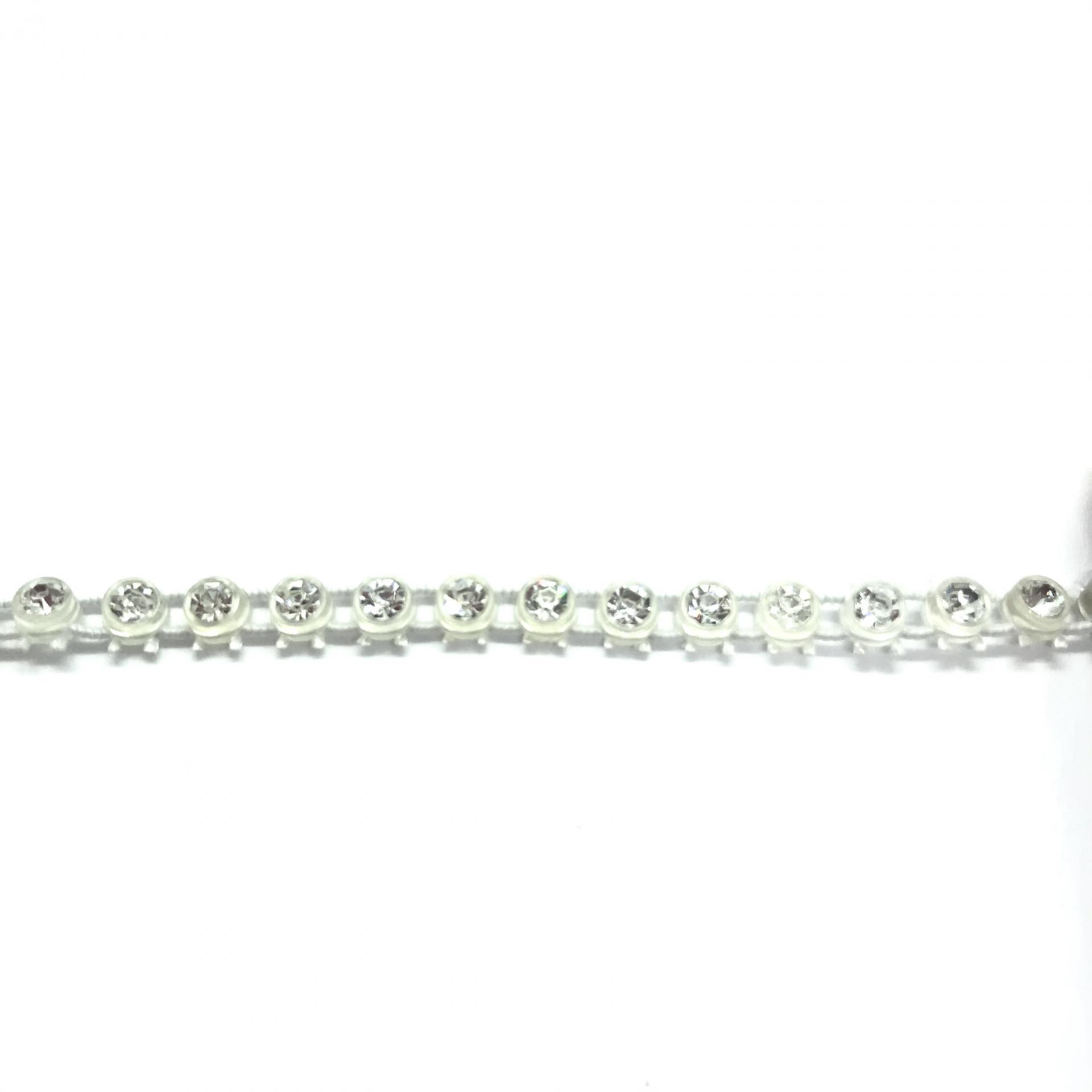 Galon de strass elastique a coudre cristal base plastique translucide 4mm