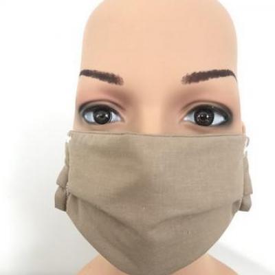 Masque en tissu adulte avec pont de nez marron clair