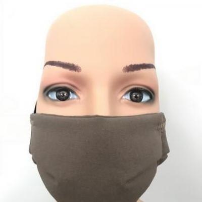Masque en tissu adulte avec pont de nez marron