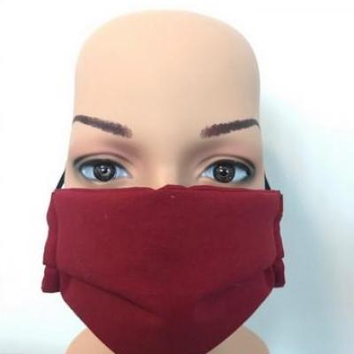 Masque en tissu adulte avec pont de nez rouge bordeaux