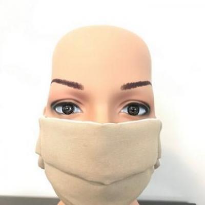 Masque en tissu adulte avec pont de nez crème