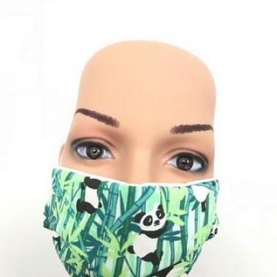 Masque en tissu adulte avec pont de nez panda vert