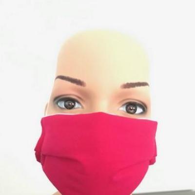 Masque en tissu adulte avec pont de nez fuschia