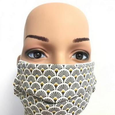 Masque en tissu adulte avec pont de nez éventail gris