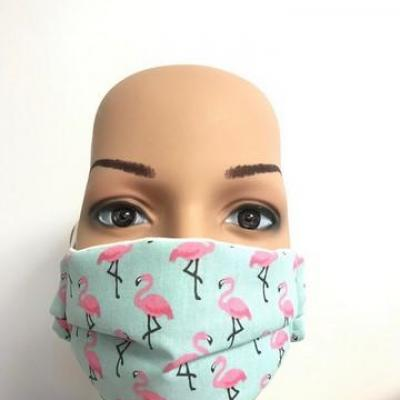 Masque en tissu adulte avec pont de nez flamants bleu