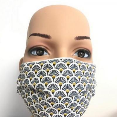 Masque en tissu adulte avec pont de nez éventail bleu