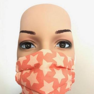 Masque en tissu adulte avec pont de nez étoiles orange