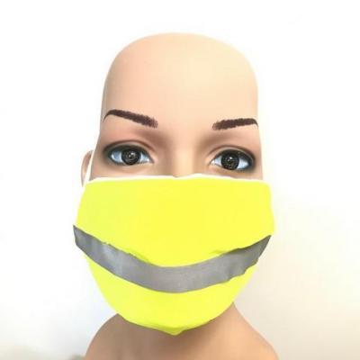 Masque en tissu adulte avec pont de nez jaune fluo