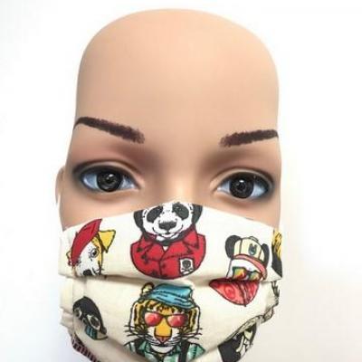 Masque en tissu adulte avec pont de nez animaux