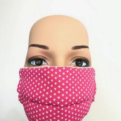 Masque en tissu adulte avec pont de nez étoiles rose
