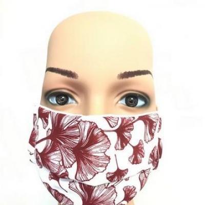 Masque en tissu adulte avec pont de nez fleurs rouges