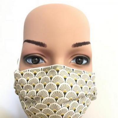 Masque en tissu adulte avec pont de nez éventail beige
