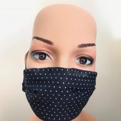 Masque en tissu adulte avec pont de nez bleu nuit à pois
