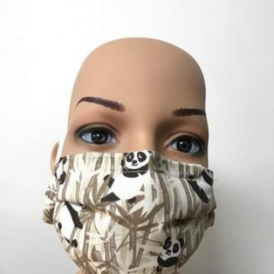Masque en tissu adulte avec pont de nez pandas marron