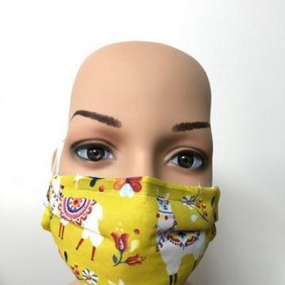 Masque en tissu adulte avec pont de nez lamas