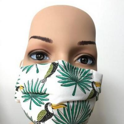Masque en tissu adulte avec pont de nez toucans