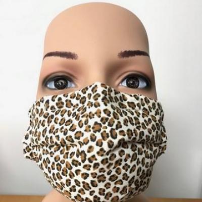 Masque en tissu adulte avec pont de nez léopard v2