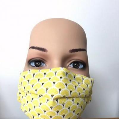 Masque en tissu adulte avec pont de nez éventail jaune