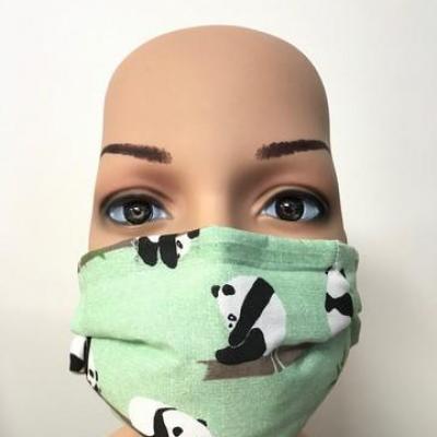 Masque en tissu adulte avec pont de nez pandas vert v2