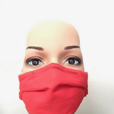 Masque en tissu adulte avec pont de nez rouge orangé