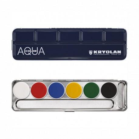 Maquillage kryolan palette 6couleurs aquacolor 1107 a
